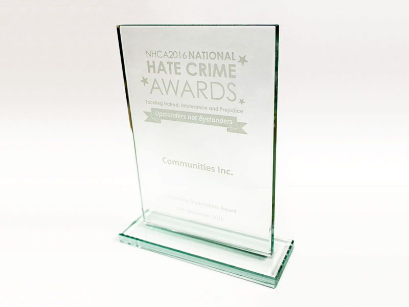 National Hate Crime Award 2016 for Upstanding Organisation won by Communities Inc